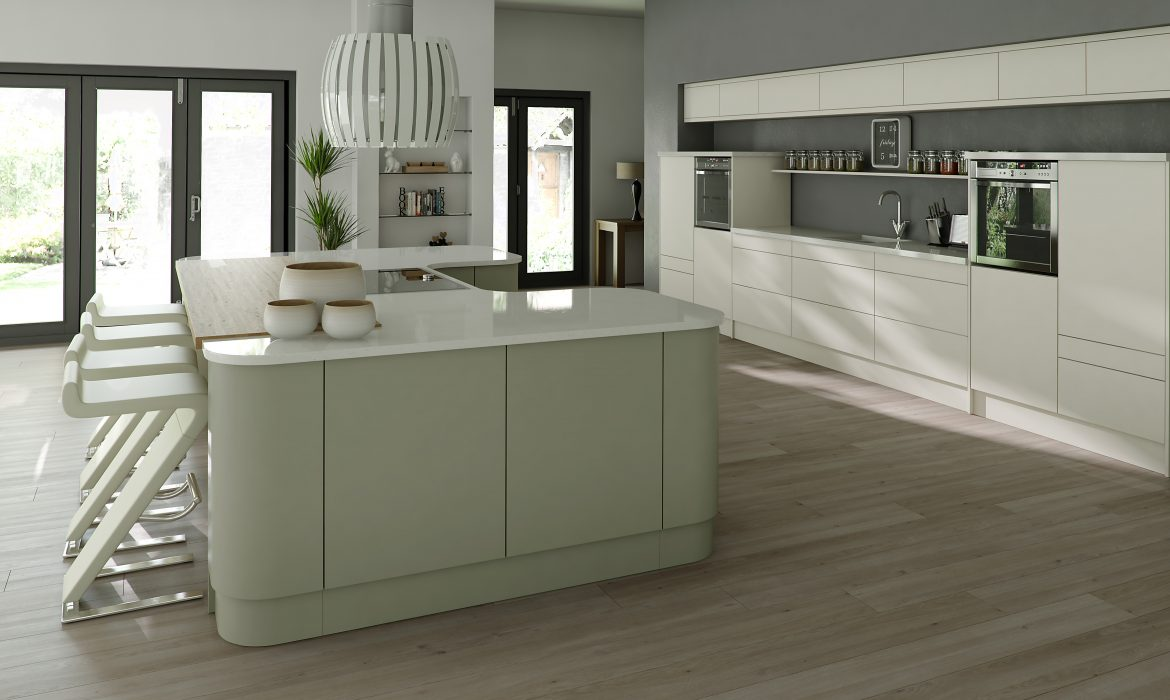 Linear Painted Ivory & Sage Grey